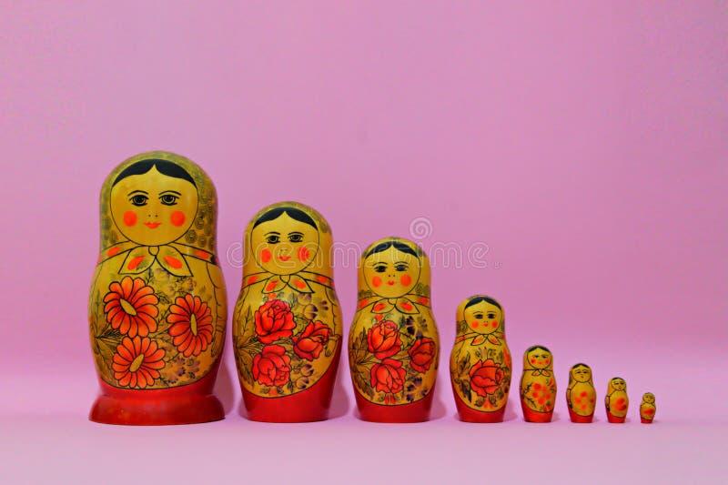 Matrioshka acht auf dem Rosenhintergrund lizenzfreies stockfoto