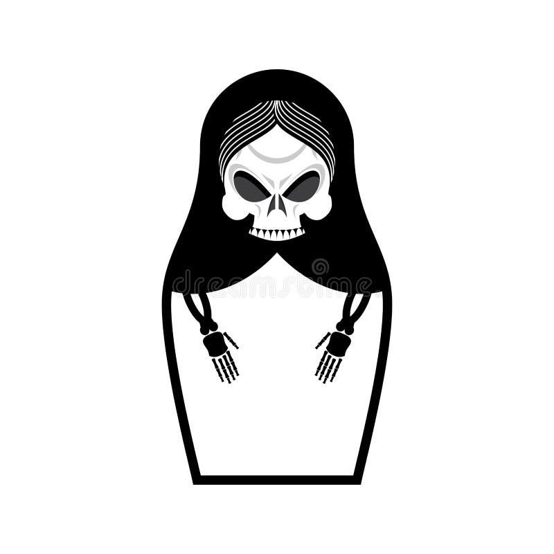 Matrioshka skalle Rysk folk dockadöd Medborgare bygga bo docka stock illustrationer