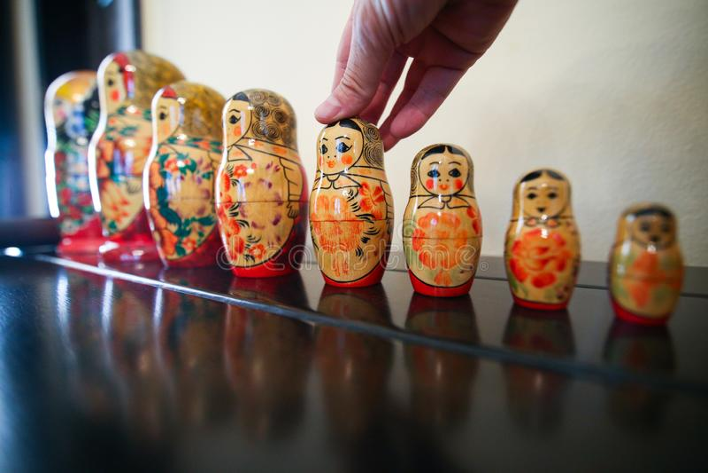 Matrioska traditional russian wooden dolls. Colorful Matrioska traditional russian wooden dolls in a row stock photography