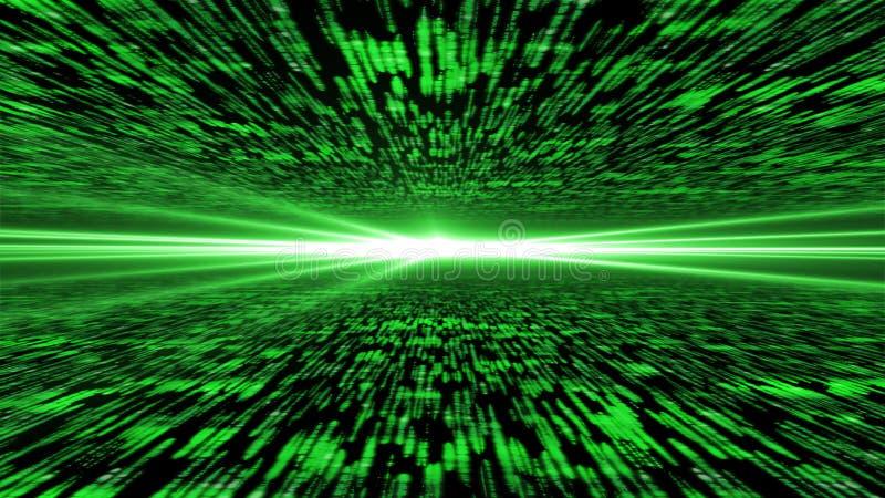 Matris 3d - flyg till och med aktiverad cyberspace, ljus på ho royaltyfri illustrationer