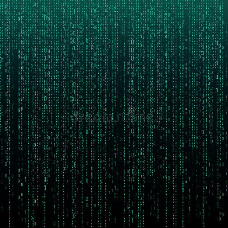 Matristextur med siffror Binär kod, abstrakt futuristisk cyberspacebakgrund Dataanalisysmodell vektor illustrationer