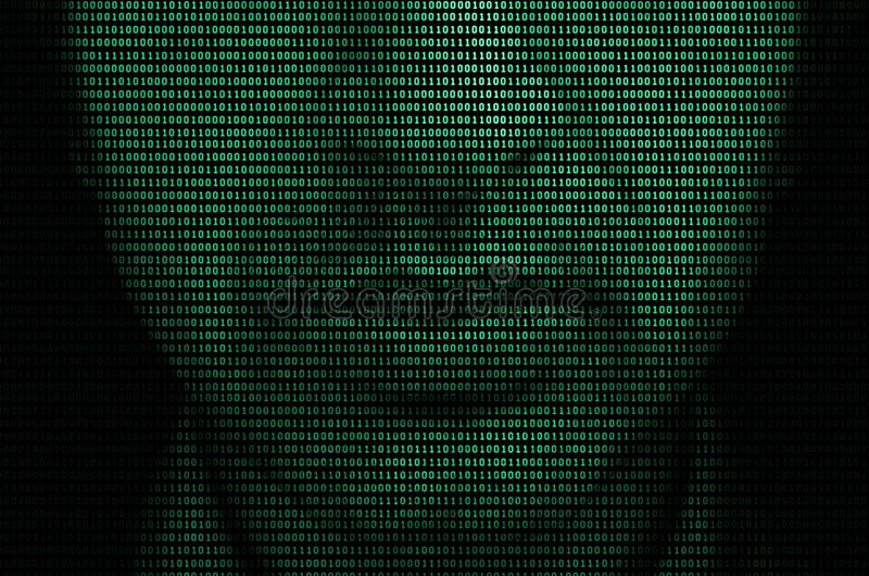 In the matrix. Closeup of the lower half of a mans face formed by the binary code depicting the concept of matrix stock photos