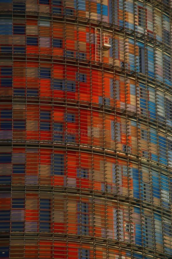 Matrix of the Agbar. Multi-coloured mosaic of windows of Barcelonian skyscraper Agbar at a dawn royalty free stock photos