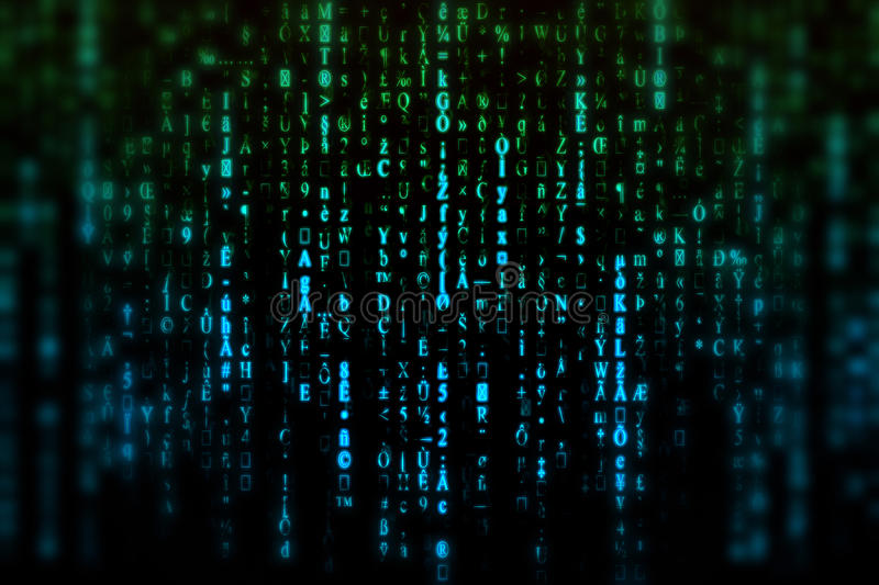 Matrix Background. Abstract blue and green matrix background with blurry effect stock images