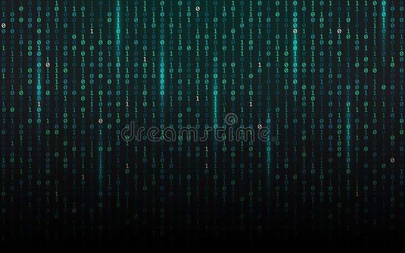 Matrix background. Streaming binary code. Falling digits on dark backdrop. Data concept. Abstract futuristic texture stock illustration