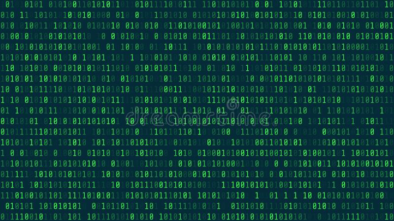 Matrix Background Style. Computer virus and hacker screen wallpaper. Green is dominant color. The Matrix format 16:9 stock illustration