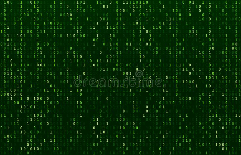 Matrix code stream. Green data codes screen, binary numbers flow and computer encryption row screens abstract vector royalty free illustration