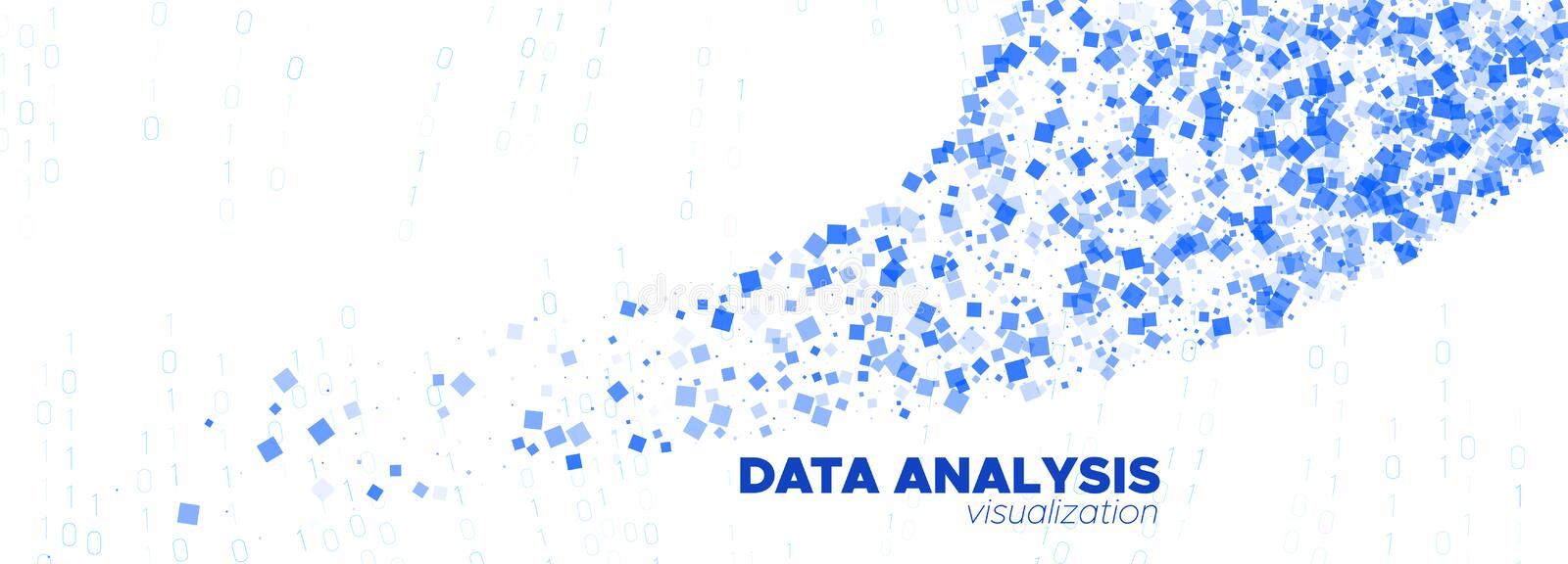 Matrix Codes. White Flow Particle Pattern. Blue. Technology Abstract. Data Numbers. White Matrix Digits. Blue Particle Background. White Technology Wallpaper vector illustration