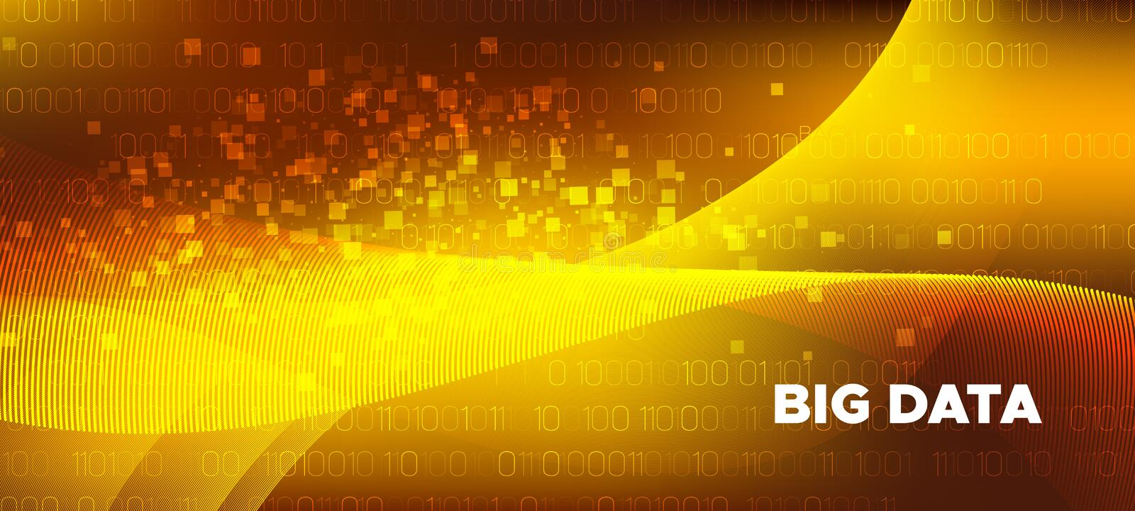 Matrix Data Stream. Gold Vector Science Flyer. Shiny Glow One, Zero Numbers. Abstract Binary Flow. Matrix Big Data. Science Wallpaper. Technology Poster royalty free illustration