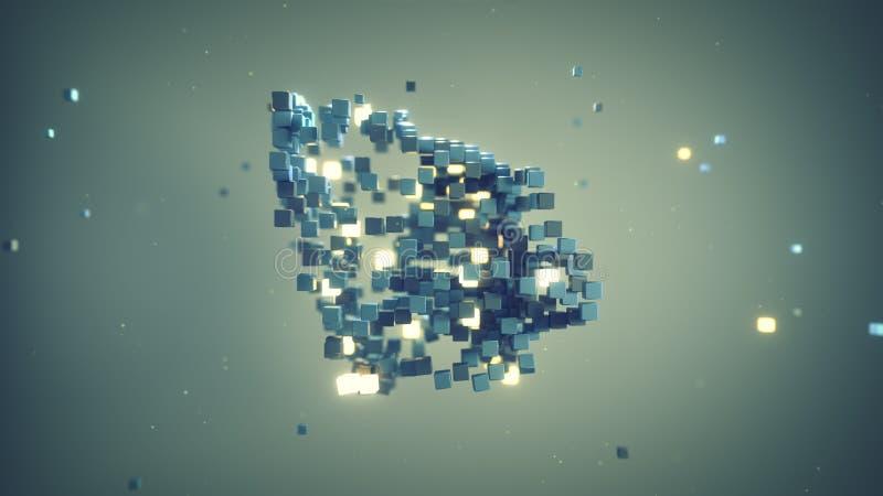 Matrix des cubes dans l'abrégé sur 3D l'espace rendent illustration stock