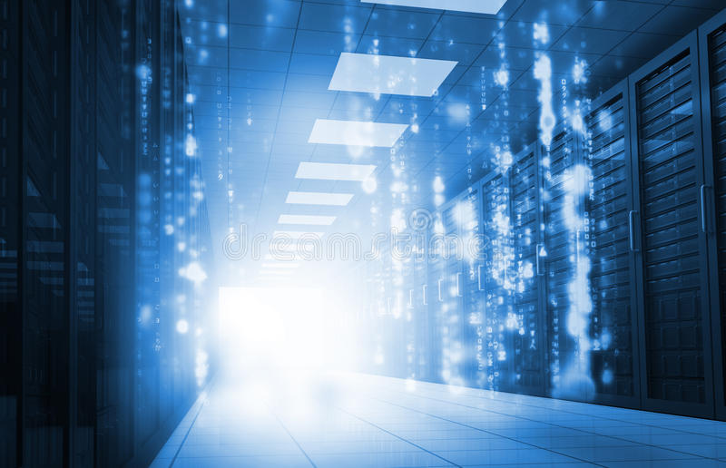 Matrix falling in data center. Glowing blue matrix falling in data center royalty free stock photos