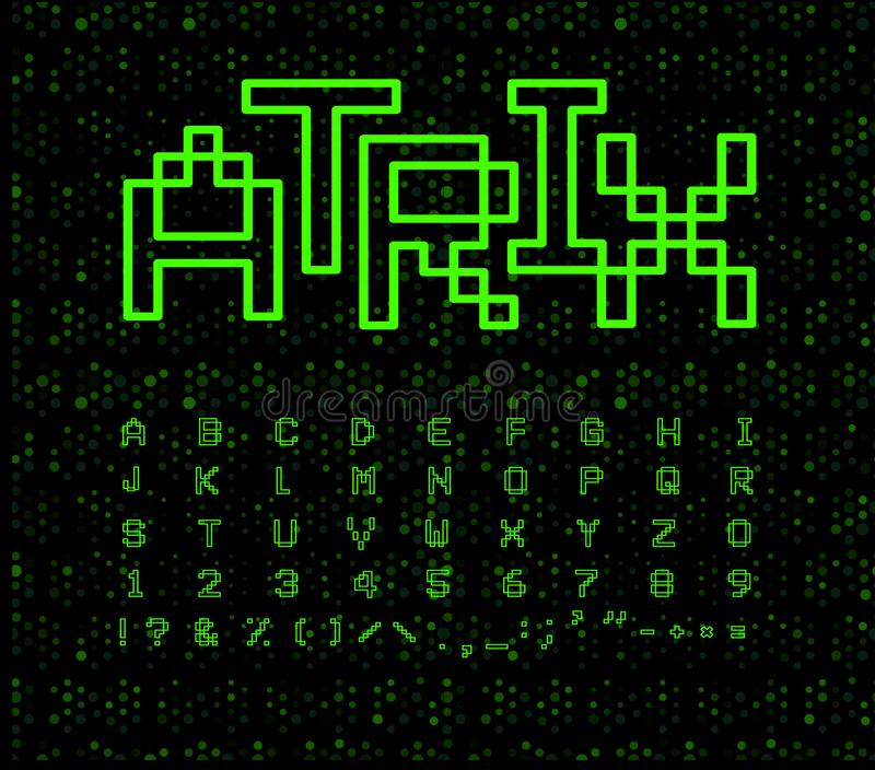 Matrix font, geometrical lines. Green digital letters on black cyberspace background. Electronic retro game alphabet. vector illustration
