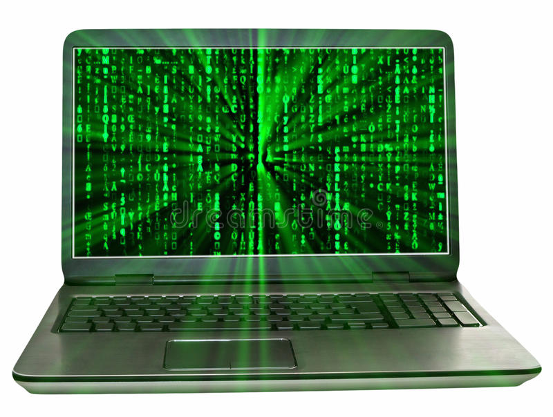 Matrix laptop. Laptop with green matrix background and light rays royalty free stock photo