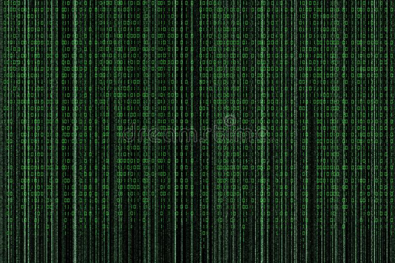 Matrix style background, green falling numbers stock photography