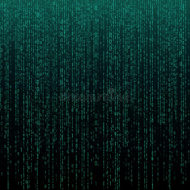 Matrix texture with digits. Binary code, abstract futuristic cyberspace background. Data analisys pattern. vector illustration