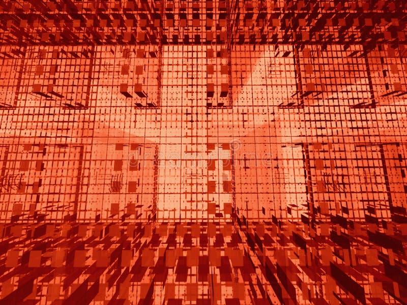 Matriz 3d vermelha ilustração do vetor