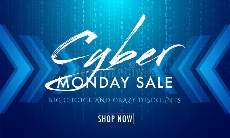 Matriz azul brillante que cifra el fondo con la venta cibernética de lunes del texto ilustración del vector