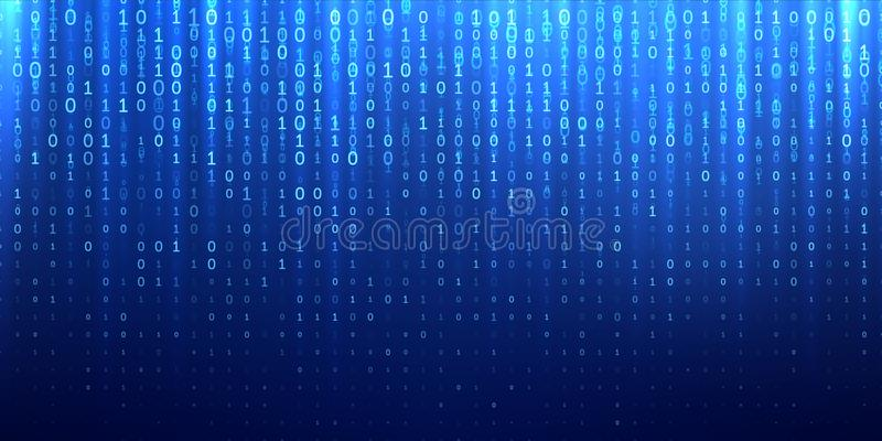 Matriz binária 1 0 fundos abstratos azuis dos bocados ilustração do vetor