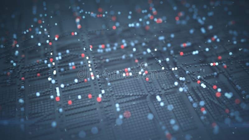 Matriz cúbica da ilustração grande da rendição do fluxo de dados 3D ilustração stock