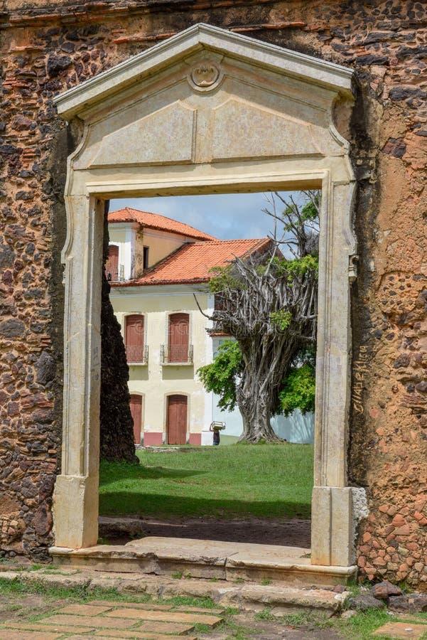 Matriz Church ruins in the historic city of Alcantara, Brazil stock photos