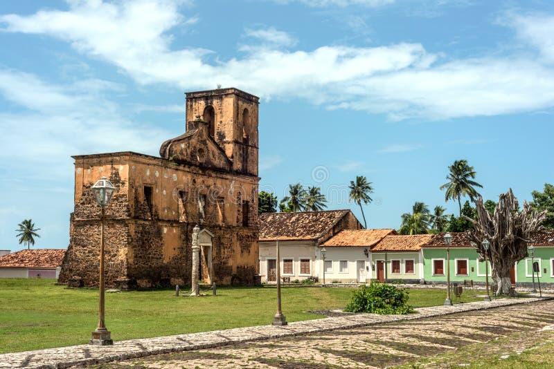 Matriz Church ruins in the historic city of Alcantara royalty free stock photos