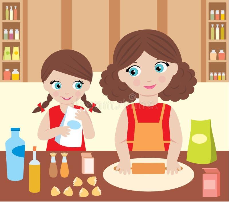 Matriz com a massa de pão do cozinheiro da filha ilustração stock