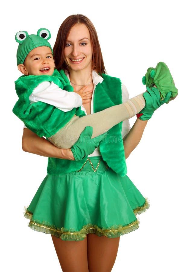 Matriz com o bebê em vestidos extravagantes imagem de stock royalty free