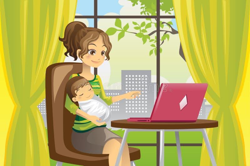 Matriz e bebê que usa o portátil