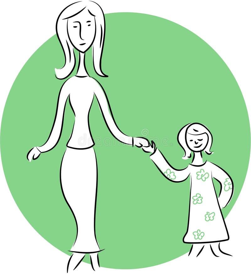 Matriz e criança ilustração stock