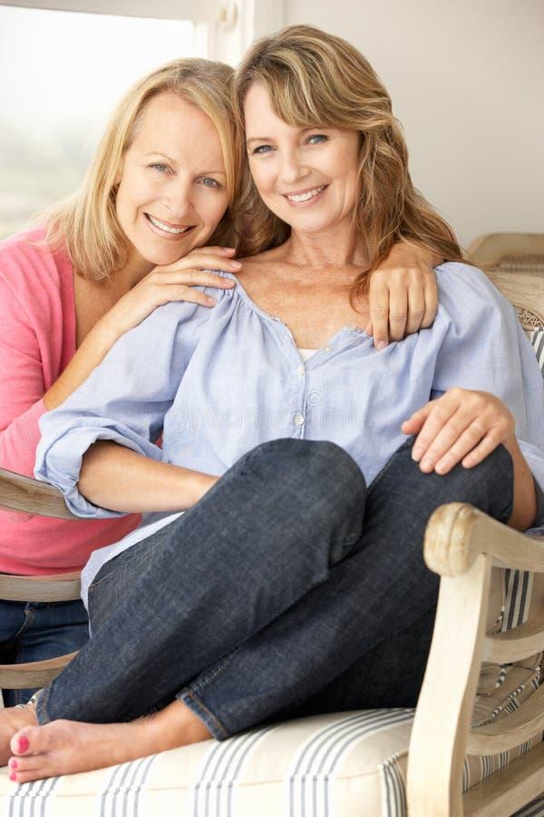 Matriz e filha adultas em casa fotografia de stock