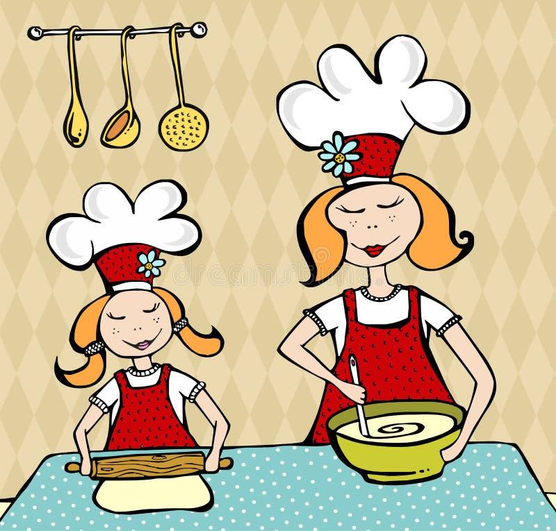 Matriz e filha que cozinham e que têm o divertimento