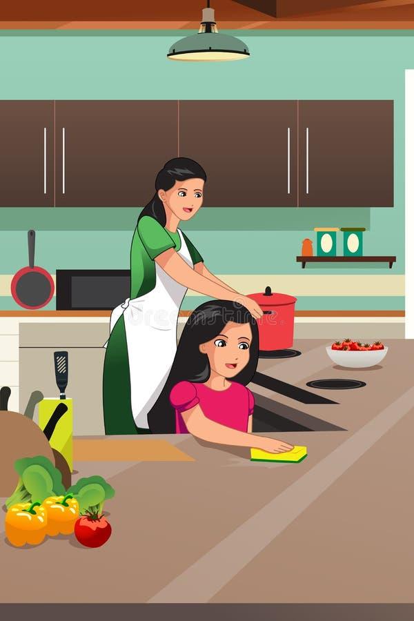 Matriz e filha que cozinham na cozinha ilustração do vetor