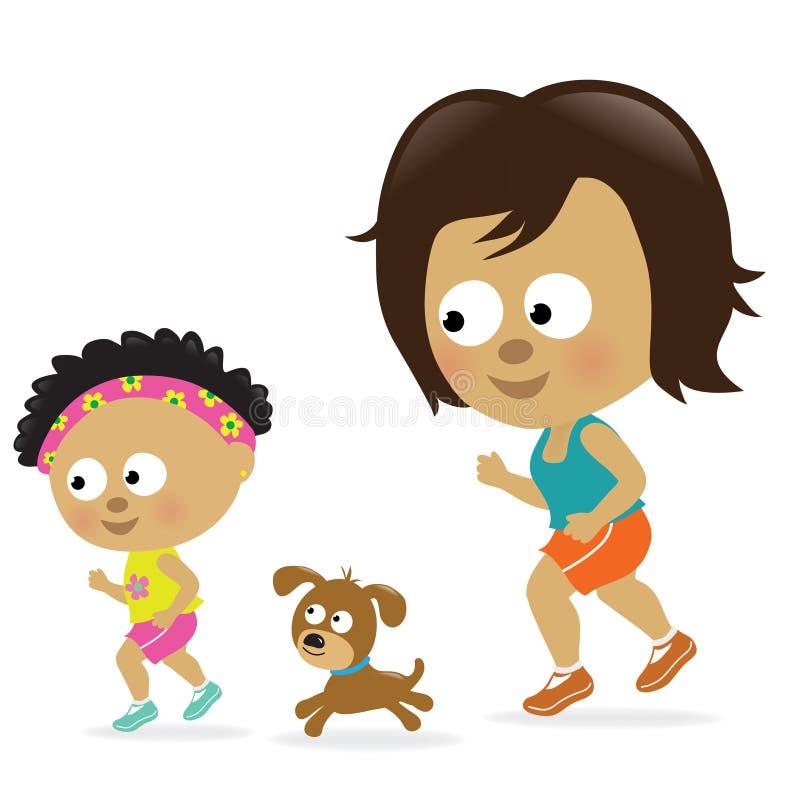 Matriz e filha que movimentam-se (americano africano) ilustração royalty free