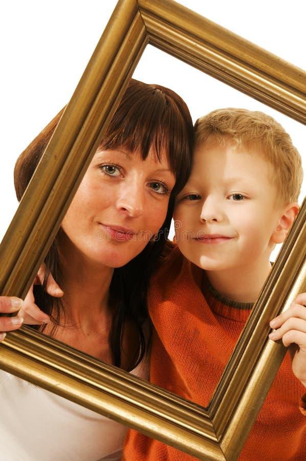 Matriz e filho no frame fotografia de stock