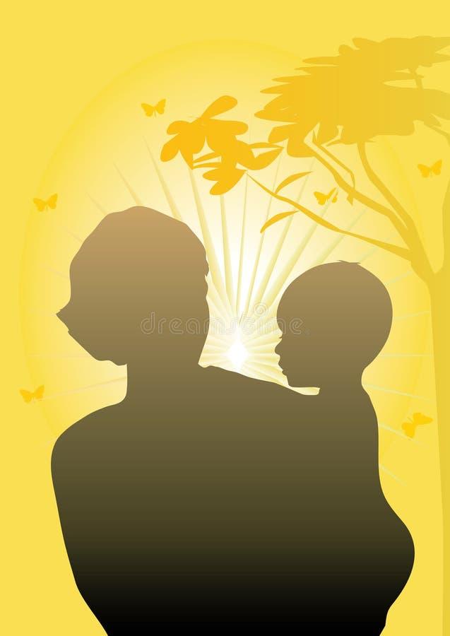 Matriz e rapaz pequeno ilustração royalty free