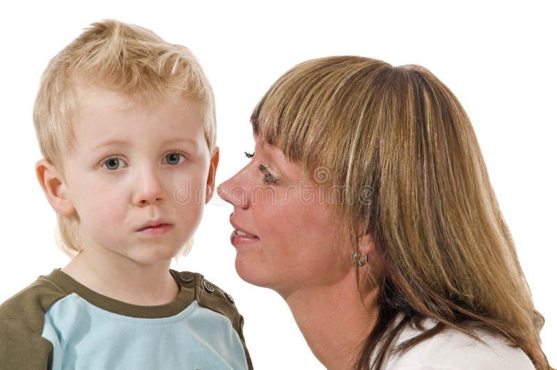 A matriz fala a seu filho imagens de stock royalty free