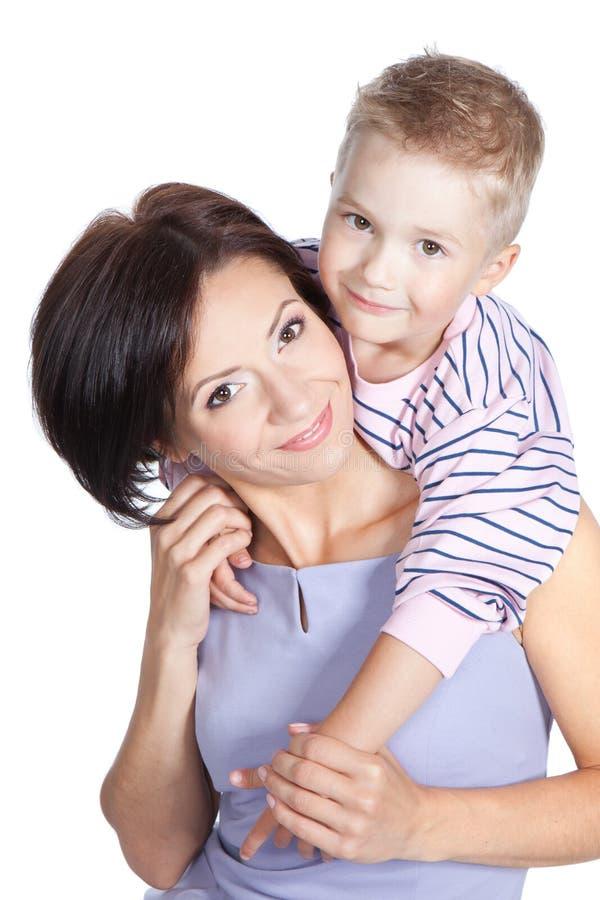 Matriz feliz com filho pequeno fotografia de stock