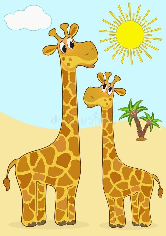 Matriz-giraffe e bebê-giraffe. ilustração royalty free