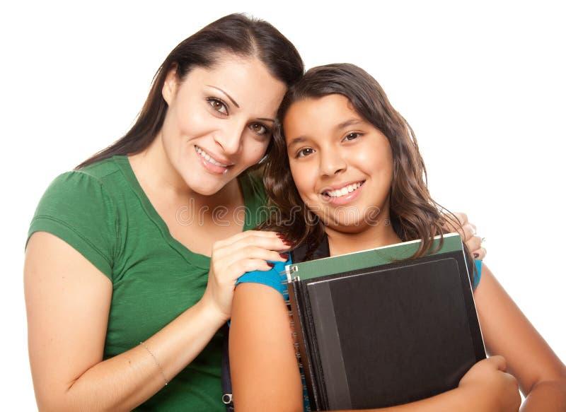 Matriz latino-americano e filha prontas para a escola imagem de stock royalty free