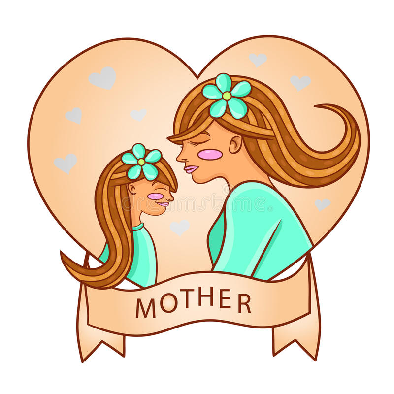 Matriz nova com sua filha Coração ilustração stock