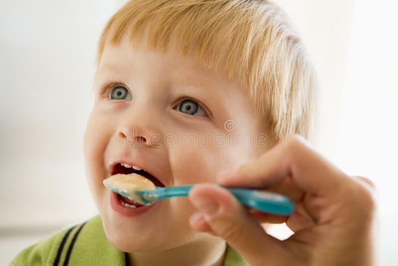 Matriz que alimenta o comida para bebé novo do menino imagem de stock royalty free