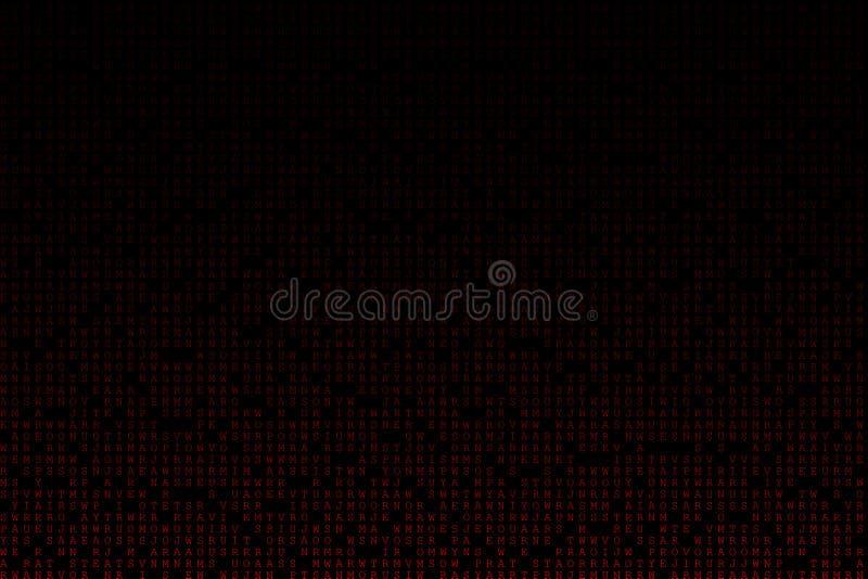 Matriz roja del fondo del texto de Digitaces que cae del top con el virus, el ransomware, el spyware, el troyano y los gusanos de libre illustration