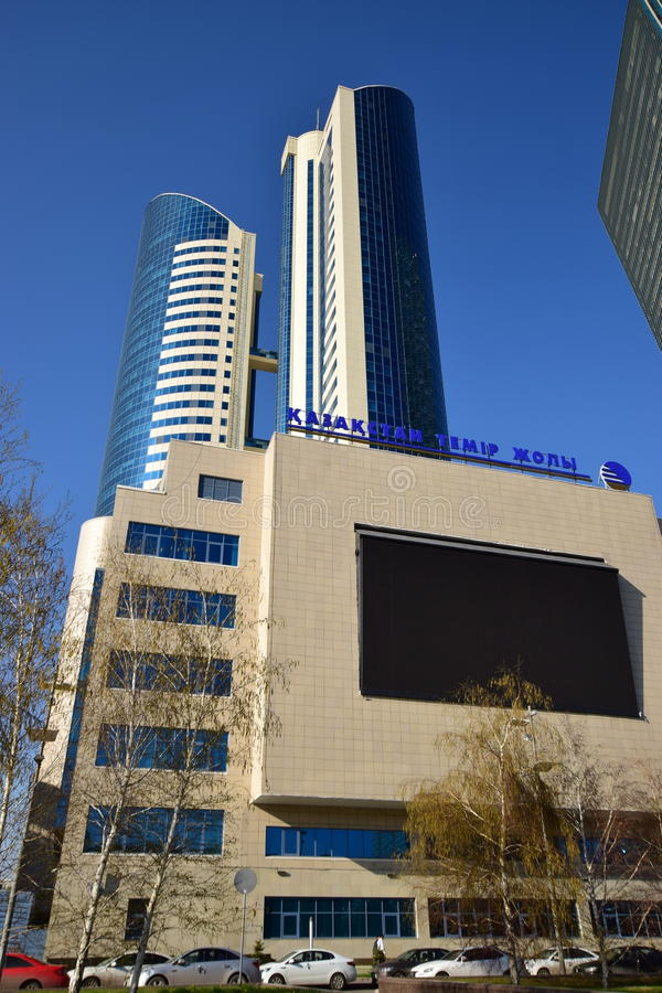 Matrizes da empresa CAZAQUISTÃO TEMIR ZHOLY da estrada de ferro em Astana foto de stock