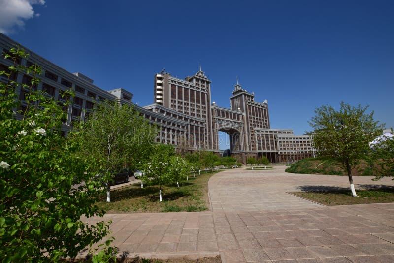 Matrizes da empresa petrolífera KazMunaiGaz em Astana, Cazaquistão fotos de stock royalty free