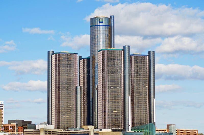 Matrizes de General Motors em Detroit do centro fotos de stock royalty free