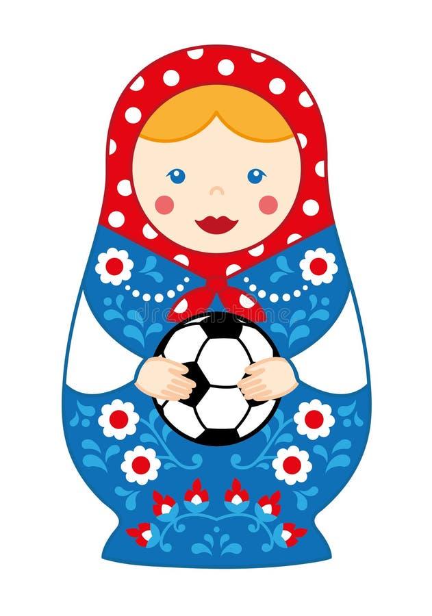 Matroshka traditionnel mignon russe de fille de poupée d'emboîtement de jouet avec le football photographie stock