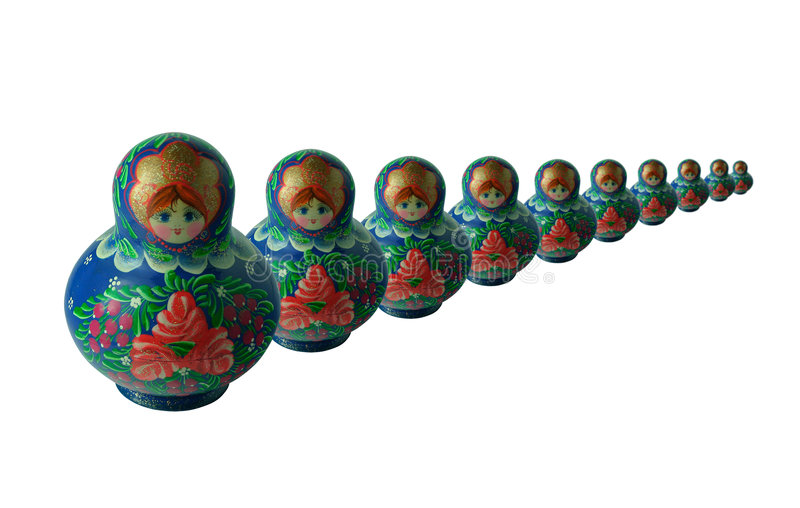 Matroshki 2. Ten russian dolls different sizes vector illustration