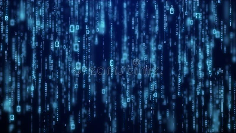 Matrycowy bajt binarnych dane rian kodu działający abstrakcjonistyczny tło w zmroku - błękitny cyfrowy royalty ilustracja