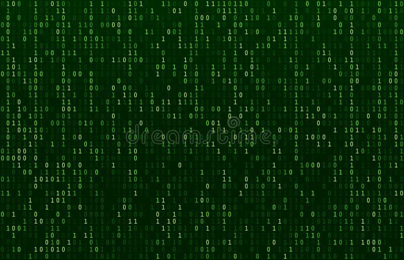 Matrycowy kodu strumień Zielony dane kodów ekran, binarne liczby spływowe i komputerowy utajnianie rząd, ekranizujemy abstrakcjon royalty ilustracja
