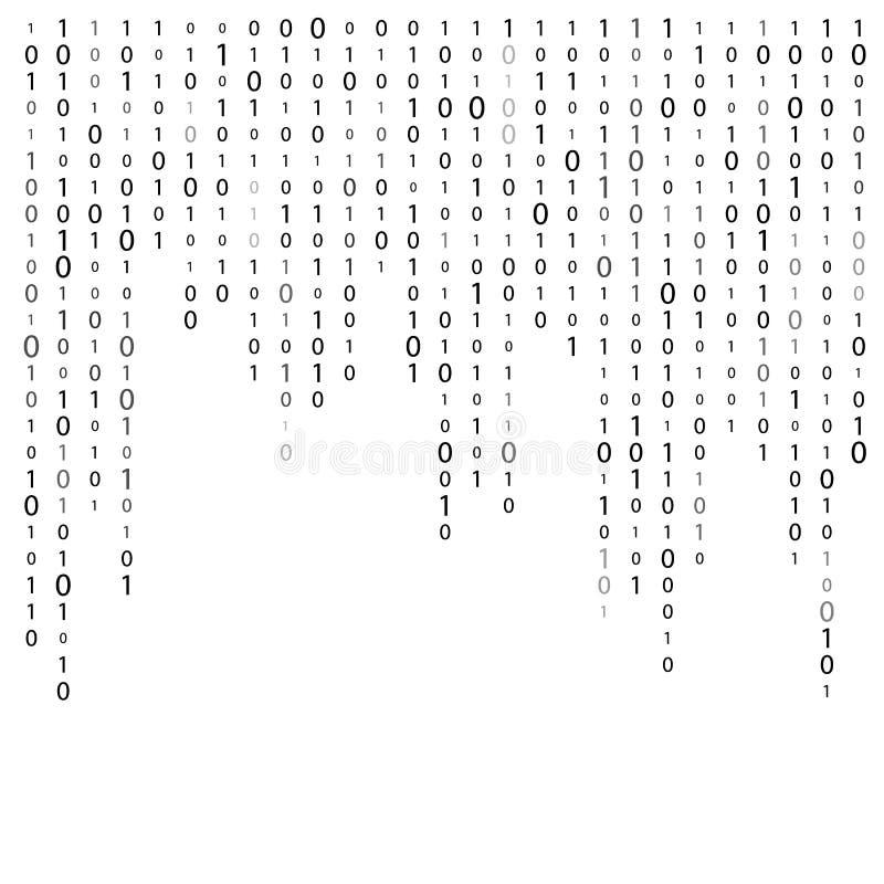 Matrycowy wektorowy abstrakcjonistyczny tło Binarny komputerowy technologia cyfrowa kod Hackera pojęcie ilustracji
